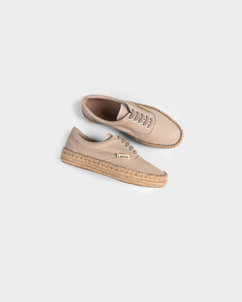 Beige Espadrille In Cotton Canvas Sneakers