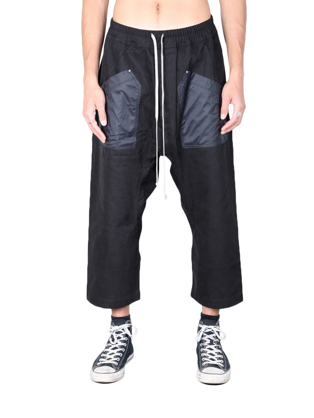 Black Cargo Drawstring Cropped Pants