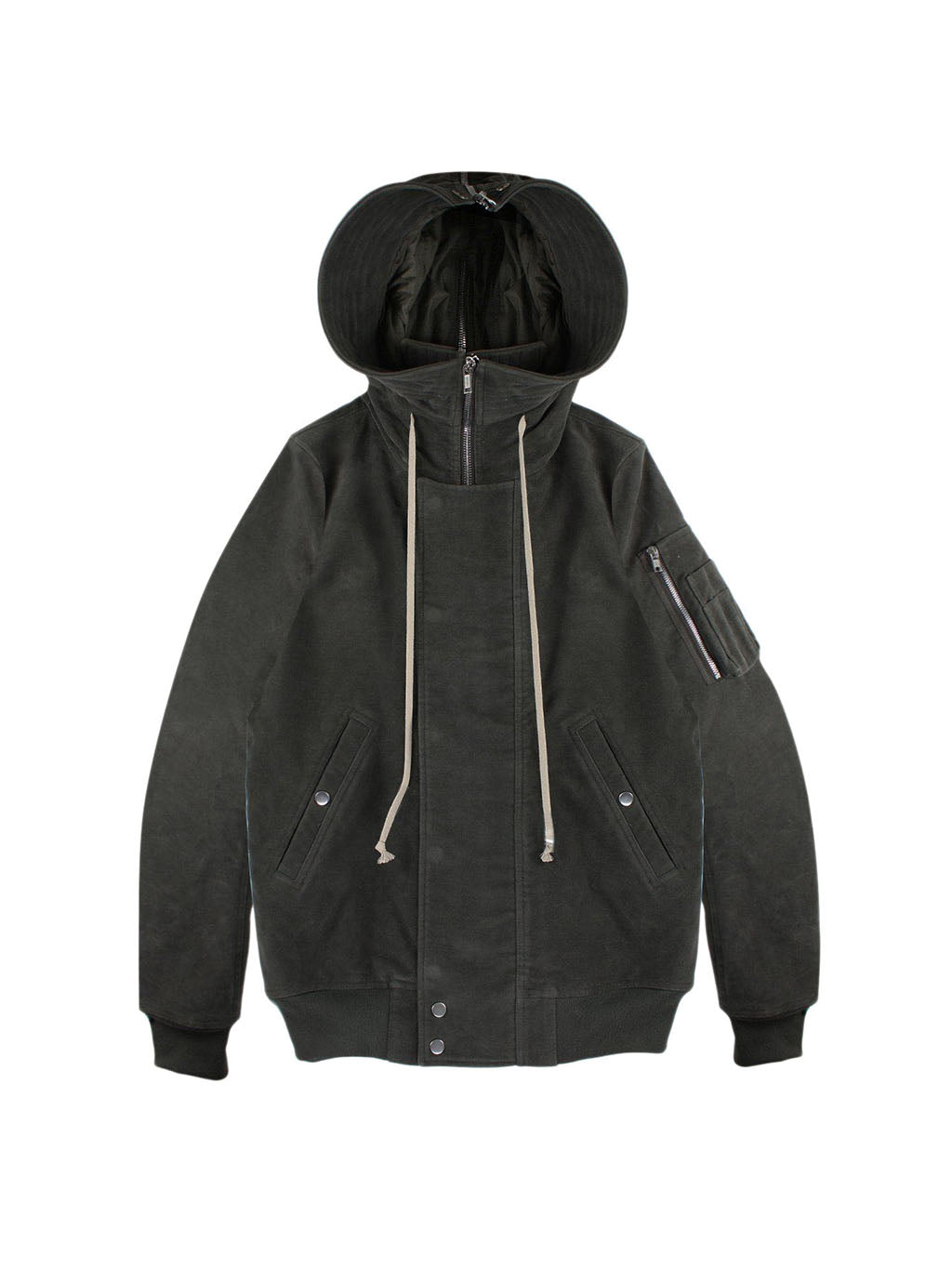 Black Hooded Short Bomber Jacket
