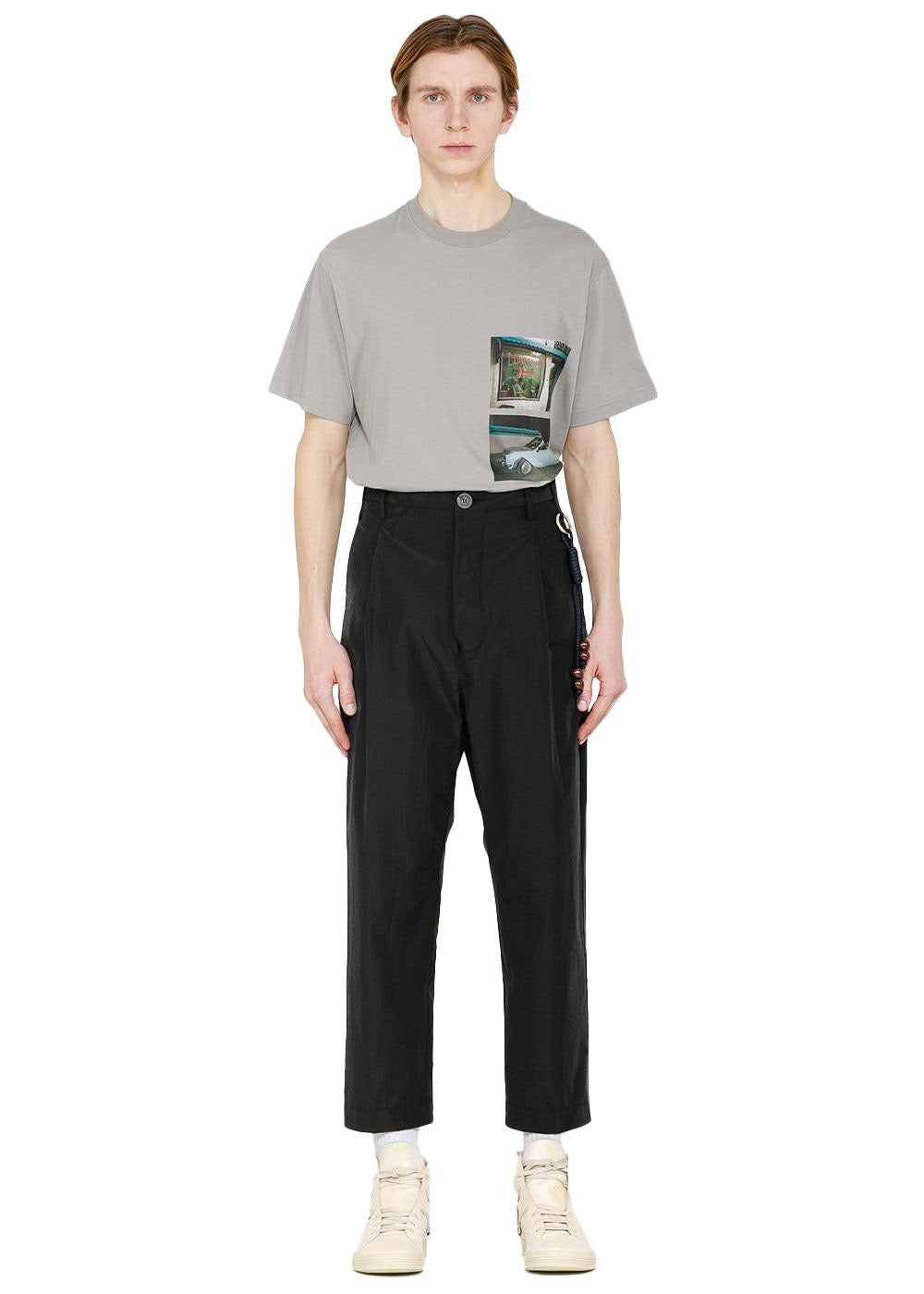 Black Pleated Tapered Pants
