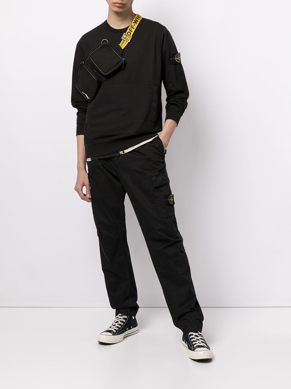 Black Logo Patch Zipper Pocket Cargo Pants