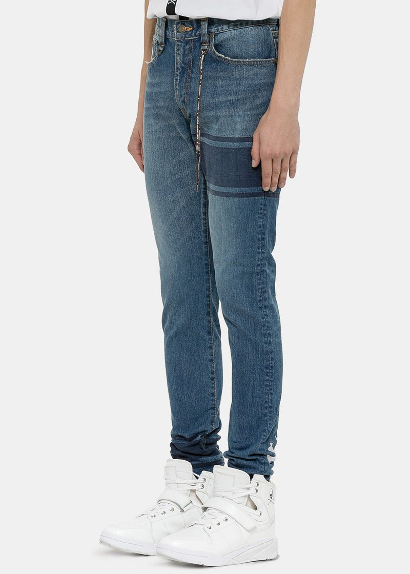 Blue Banded Drop Rear Logo Jeans