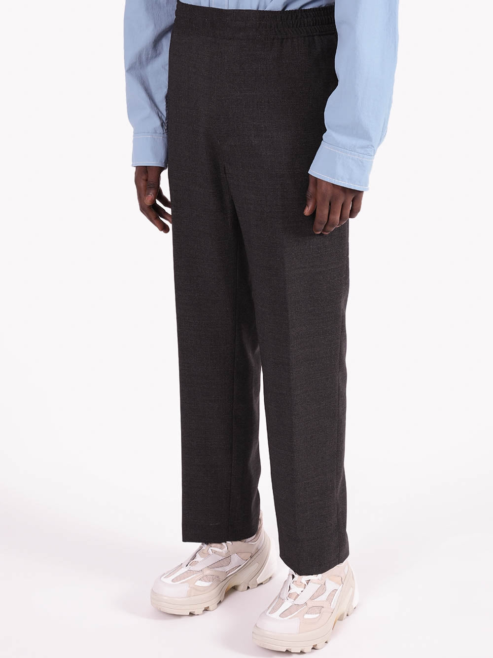 Grey Straight Leg Wool Pants