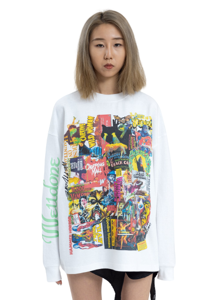 White Horror Collage Long Sleeves T-Shirt