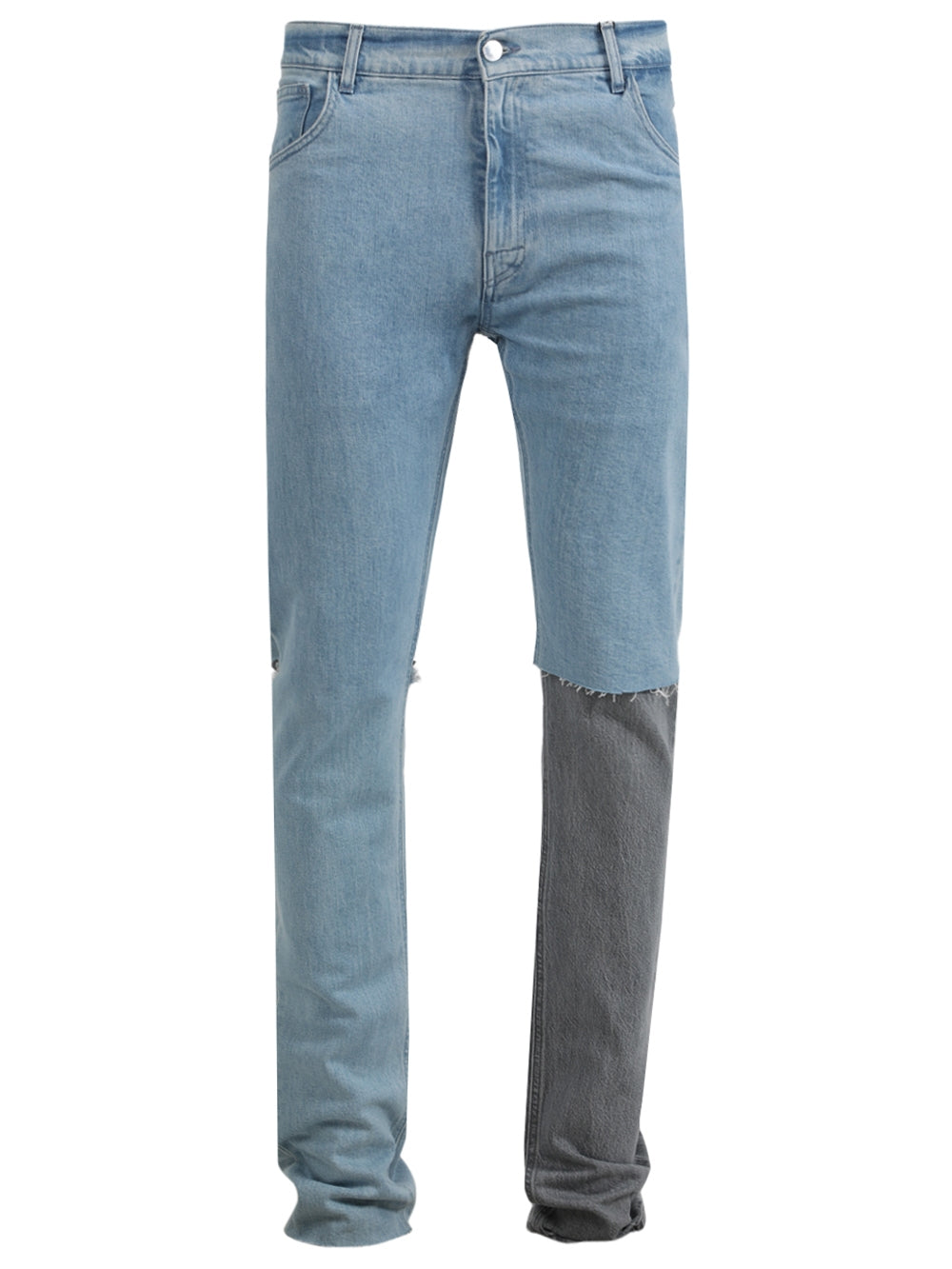 Blue Slim Fit Double Destroyed Denim Pants