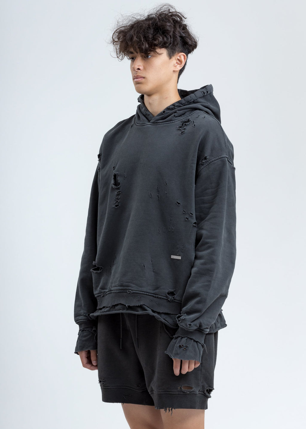 Grey Vagrant Double Layer Distressed Hoodie