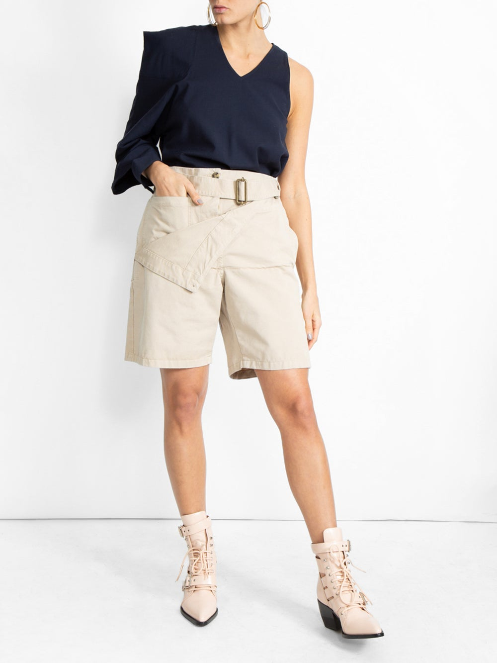 Beige Fold Front Utility Shorts