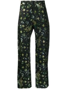 Black Floral Dragon Print Pants