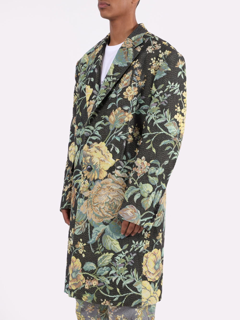Multi Floral Long Overcoat