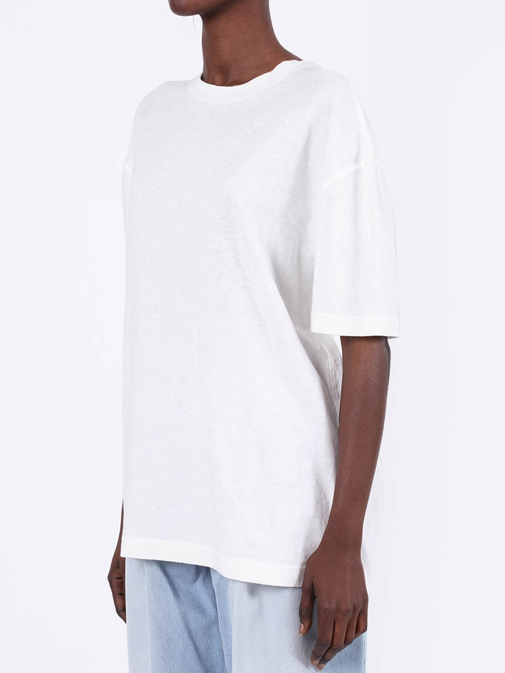White Oversized Embroidered Logo T-Shirt