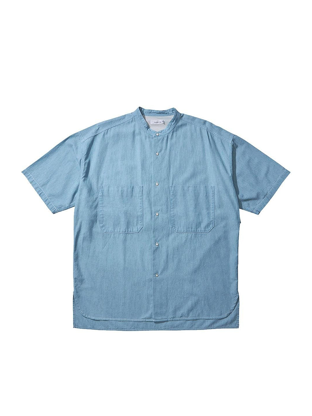 Indigo Big Band Collar Wind Half Sleeve Shirt