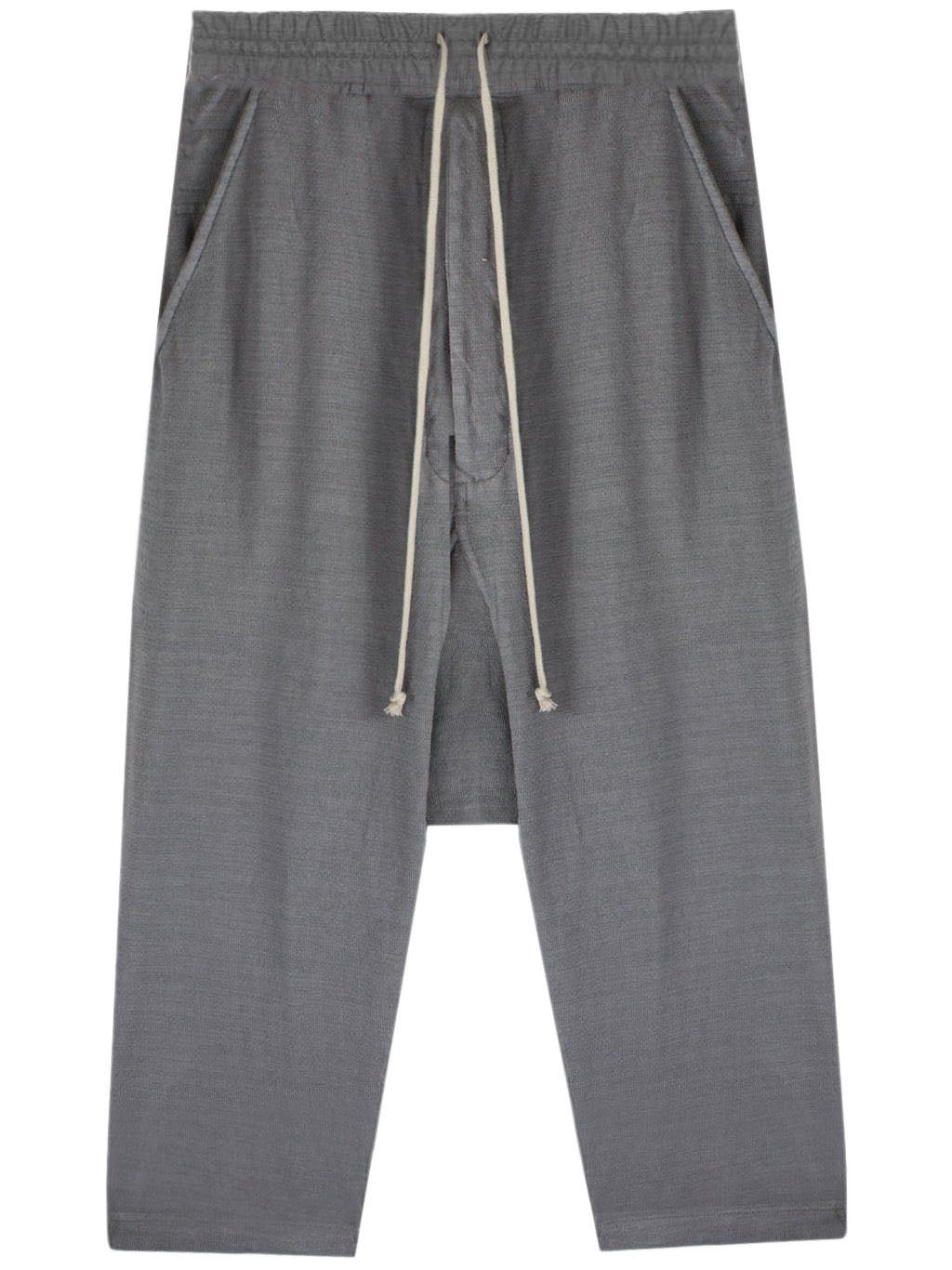 Grey Cropped Drawstring Pants