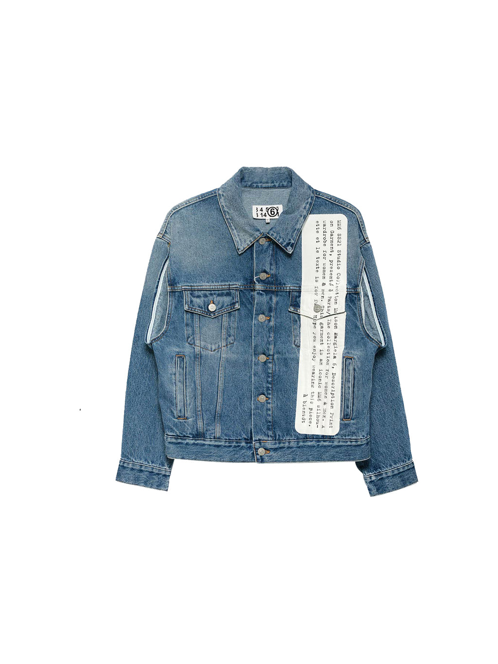 Washed Blue Text Print Denim Jacket
