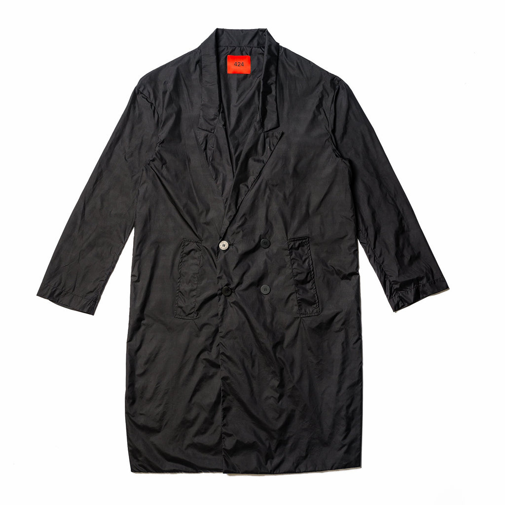 Black Nylon Trench Coat