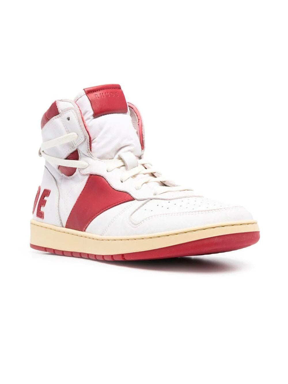 White & Red Rhecess High Top Sneakers