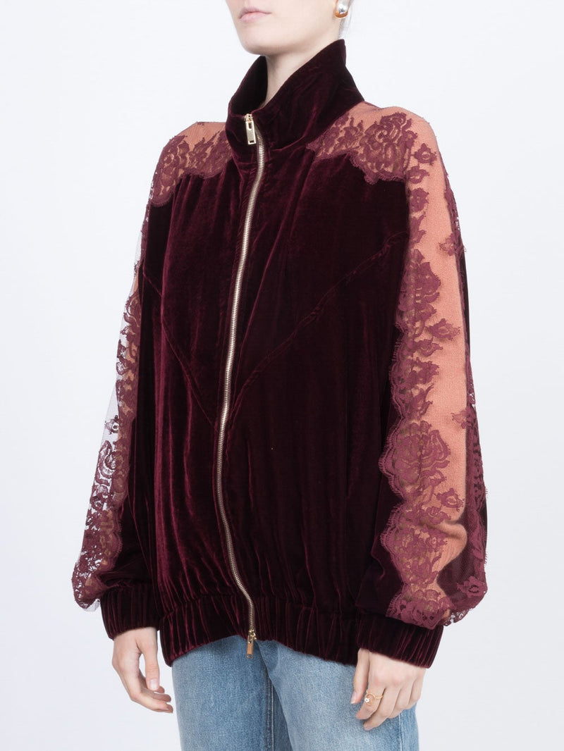Burgundy Lace Panel Track Jacket