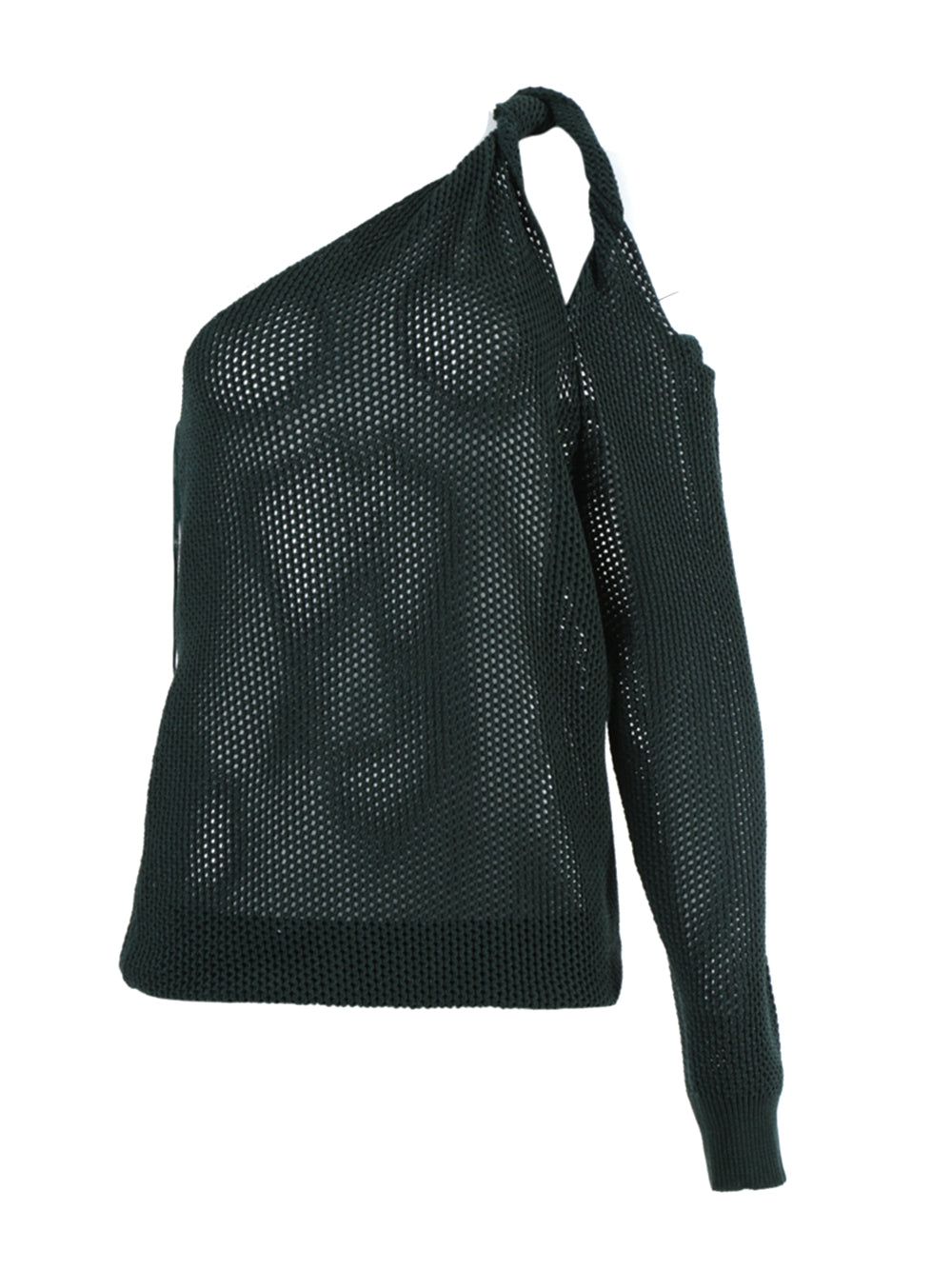 Green Perforated One-Shoulder Top
