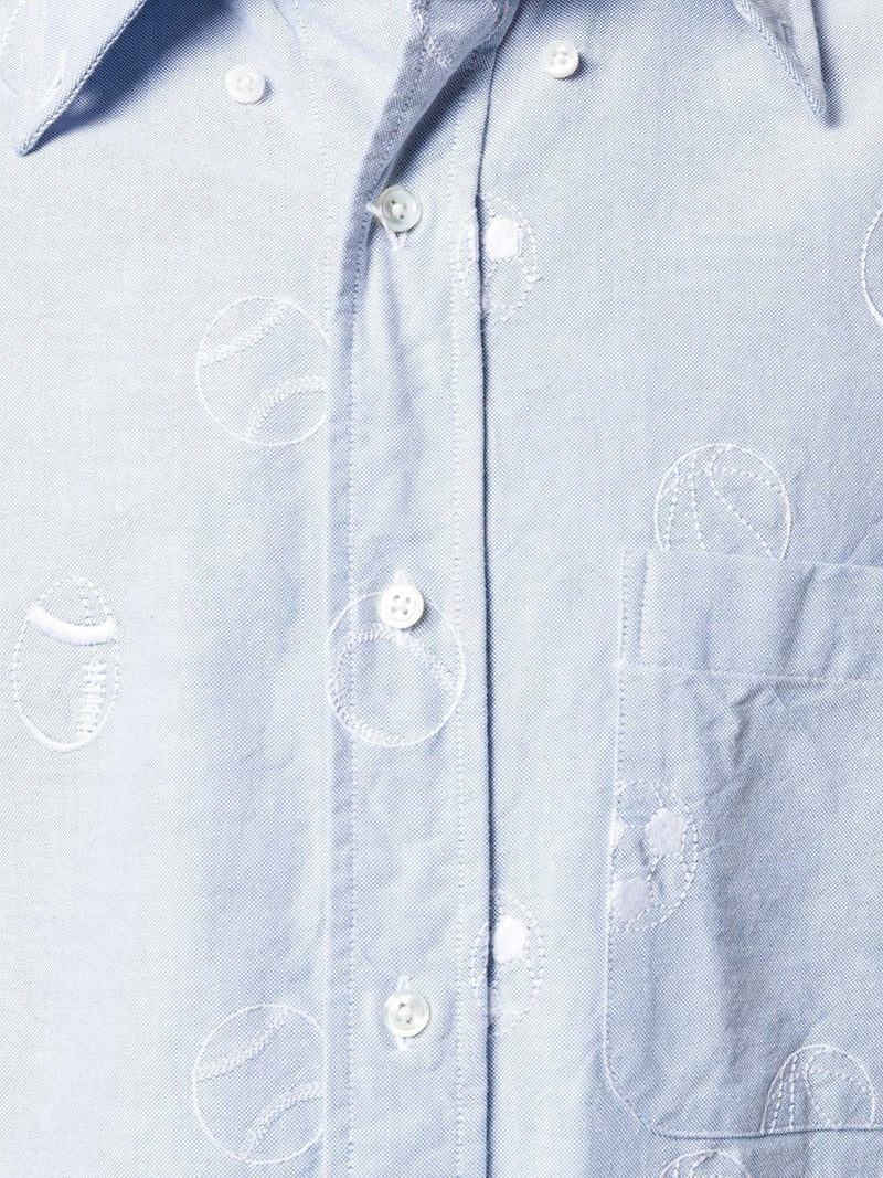 Blue Sports Ball Button-Down Shirt