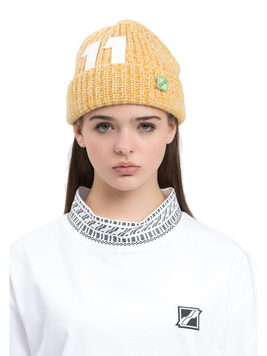 Yellow Logo Leather Patch Embroidered Beanie