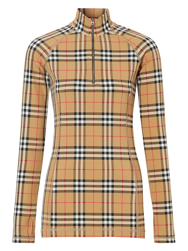 Beige Vintage Check Pattern Turtleneck Top
