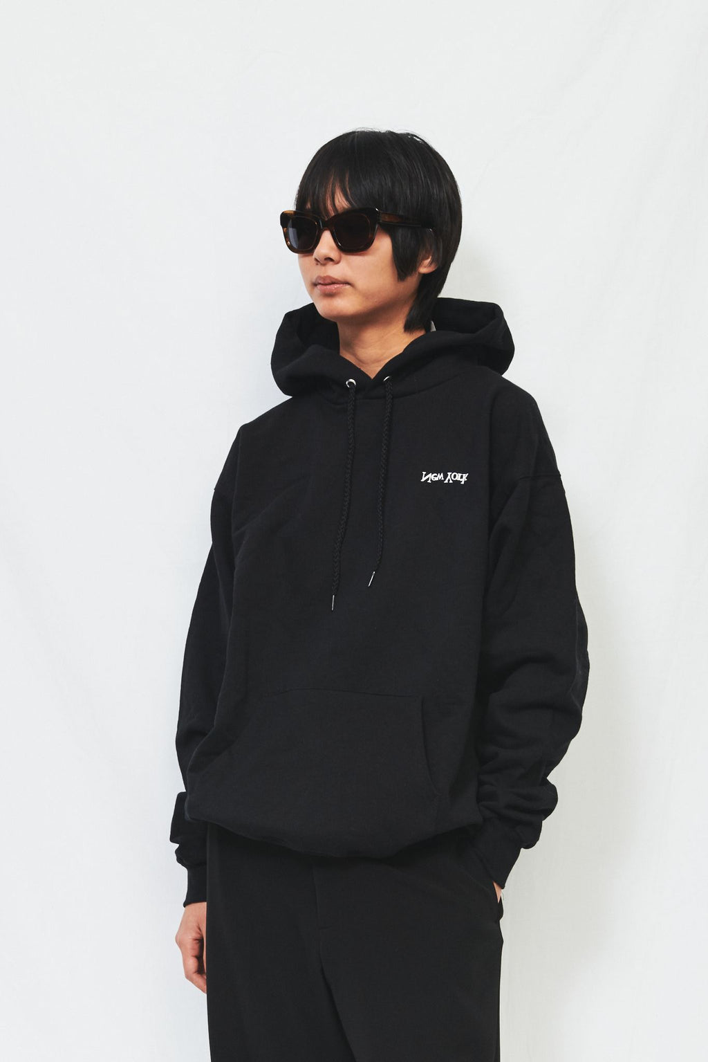 Black Cotton New York Logo Hoodie