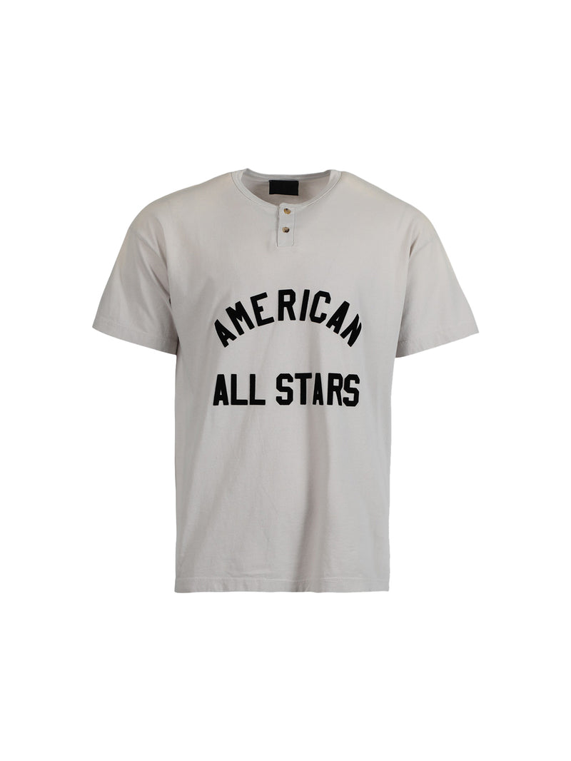 White Vintage Concrete All Star Henley T-Shirt