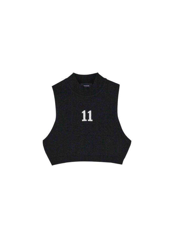 Black 11 Jacquard Crop Knit Top