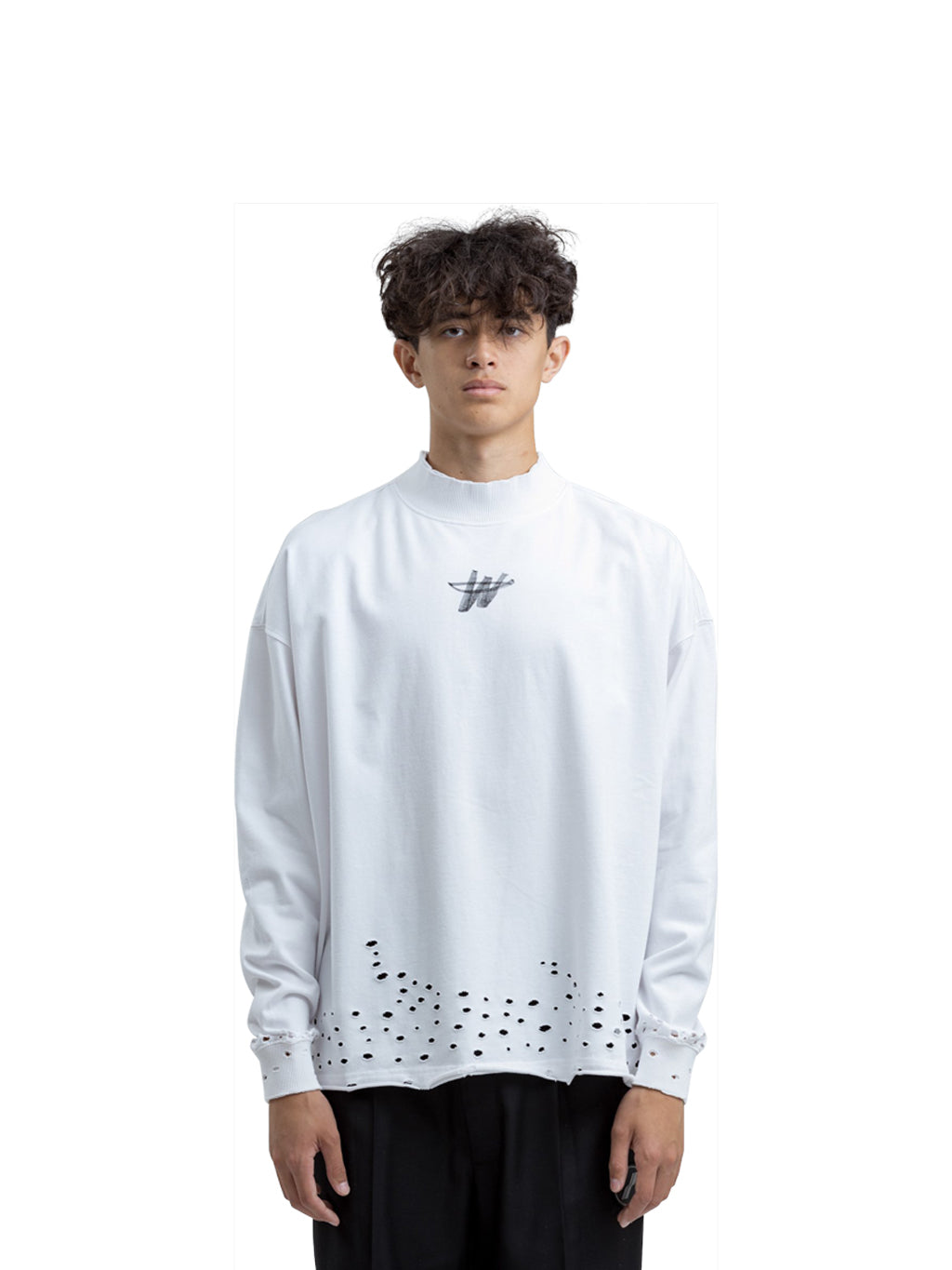 White High Neck WD Stamp Logo Long Sleeve Sweatshirt