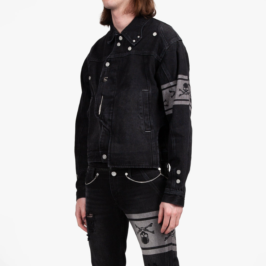 Black MMJ Asymmetrical Denim Jacket