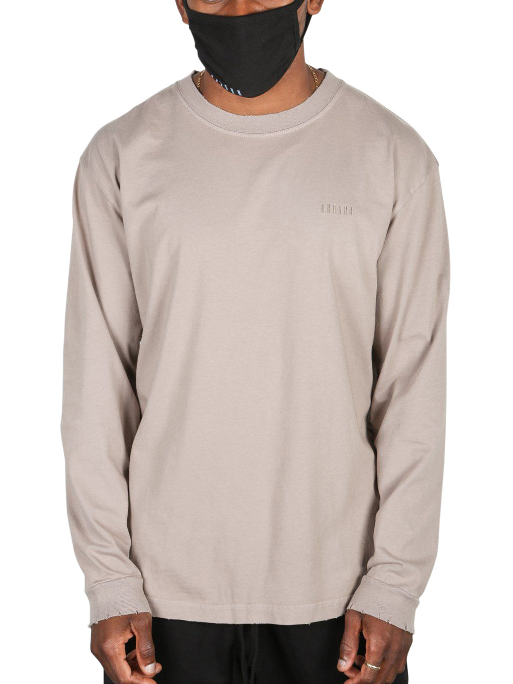 Beige Modern Logo Long Sleeve T-Shirt