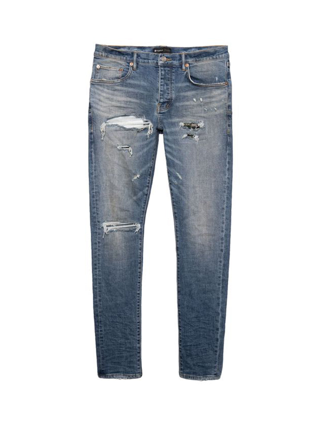 Blue Indigo Reflective Repair Jeans