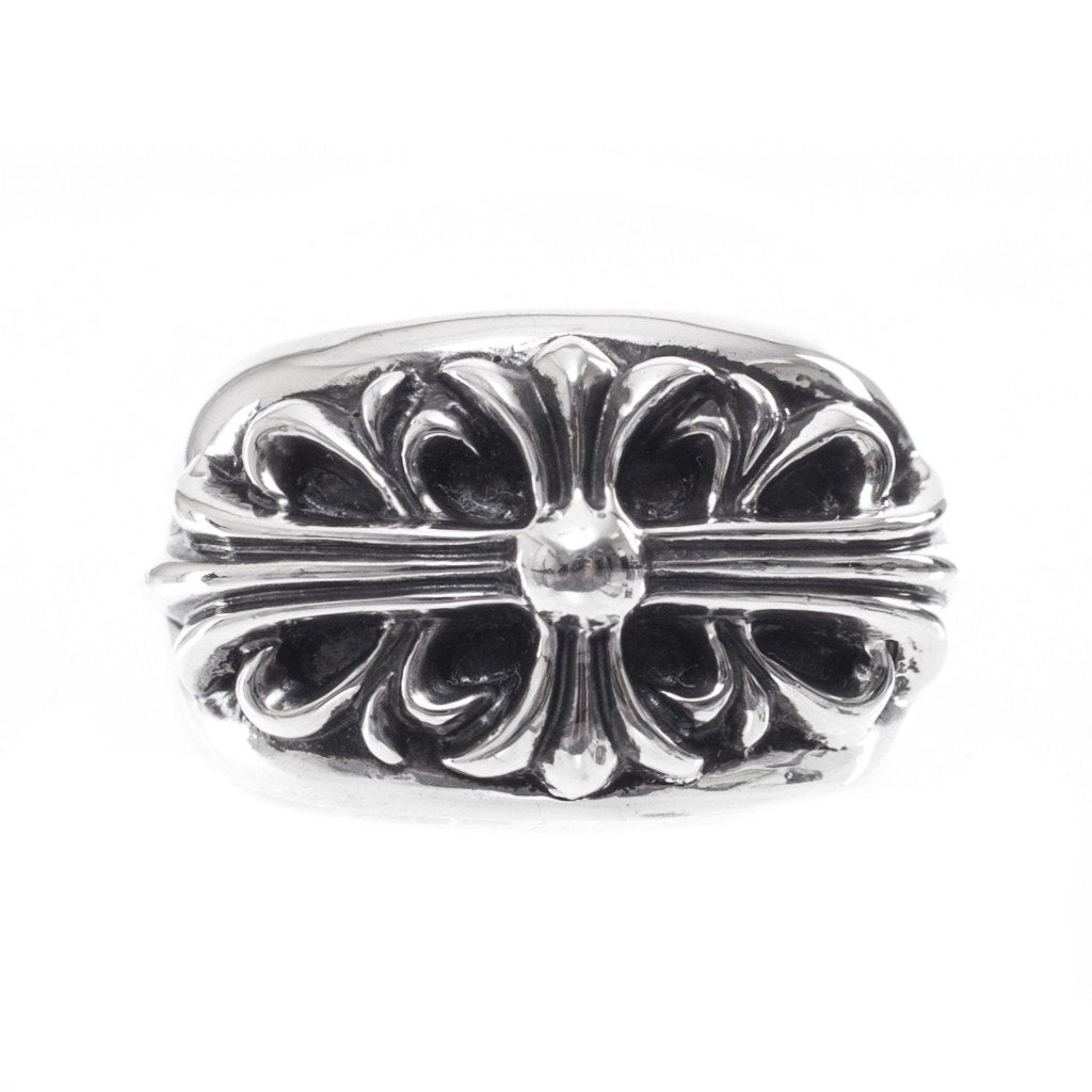 Silver CH Floral Cross Ring