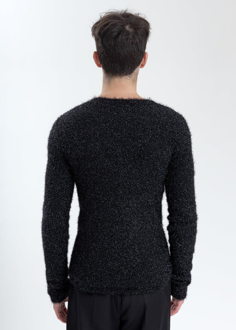 Black Front Hole Glitter Knit Sweater