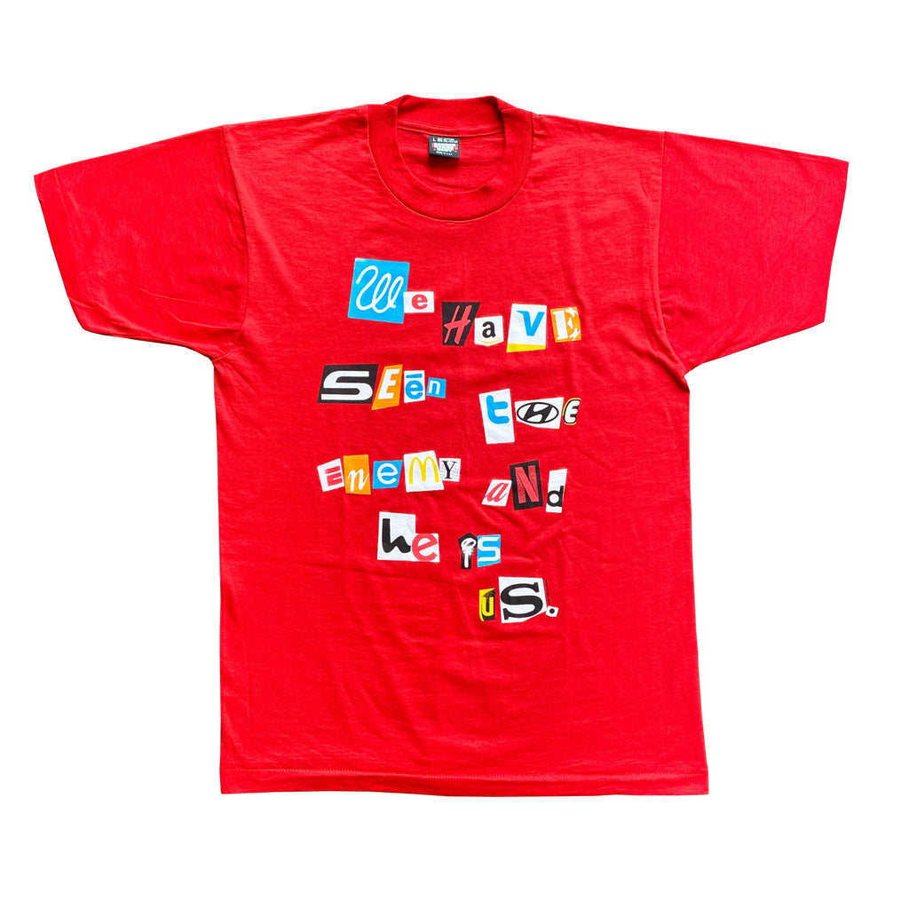 Red Enemy Print T-Shirt