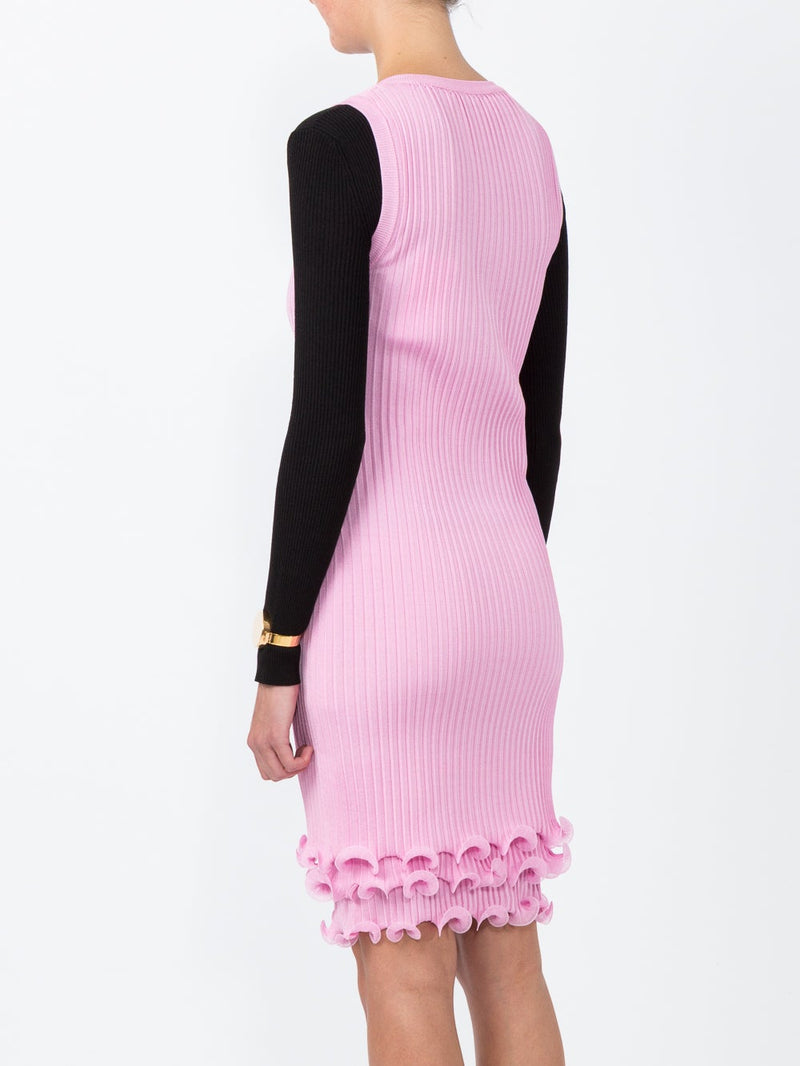 Pink Ruffle Detail Pleated Dress