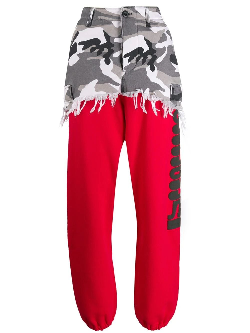 Red Camouflage Panel Sweat Pants