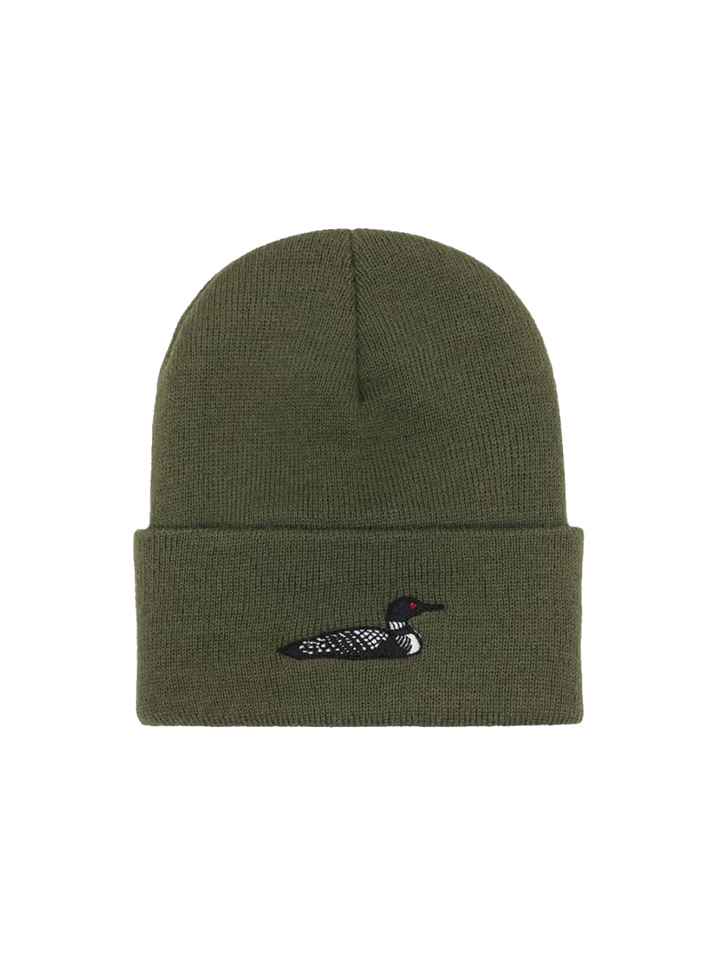 Tan and Forest Loon Beanie