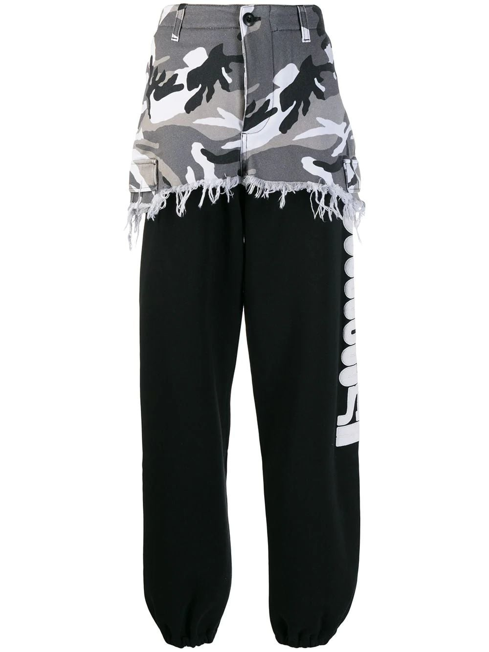 Black Camouflage Panel Sweat Pants
