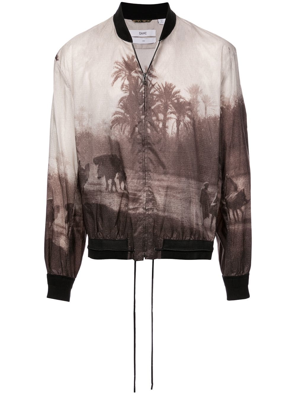 Brown Postcard Print Bomber Jacket