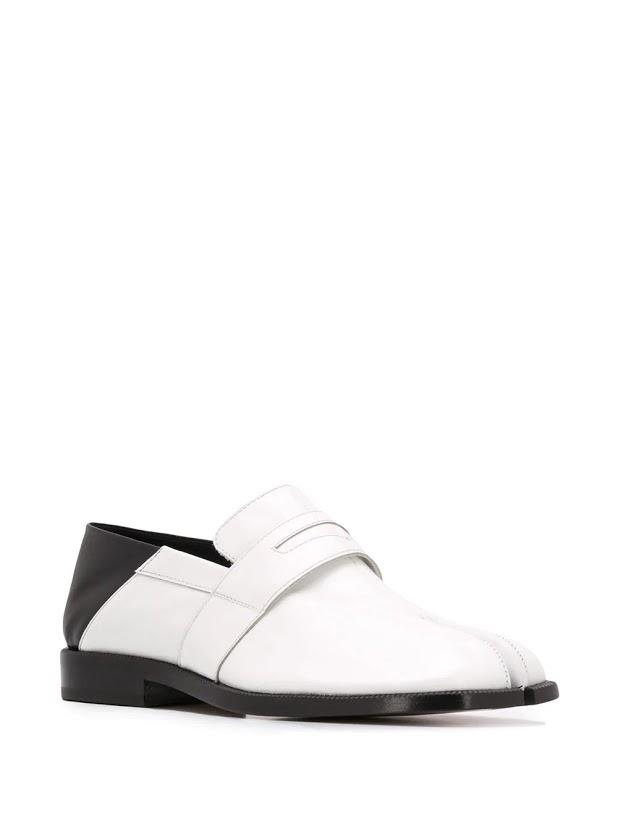 White & Black Tabi Penny Loafers