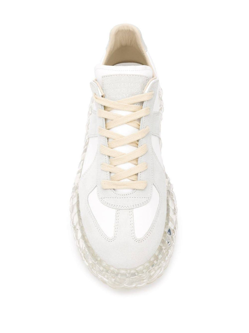 White & Grey Bubble Sole Replica Sneakers