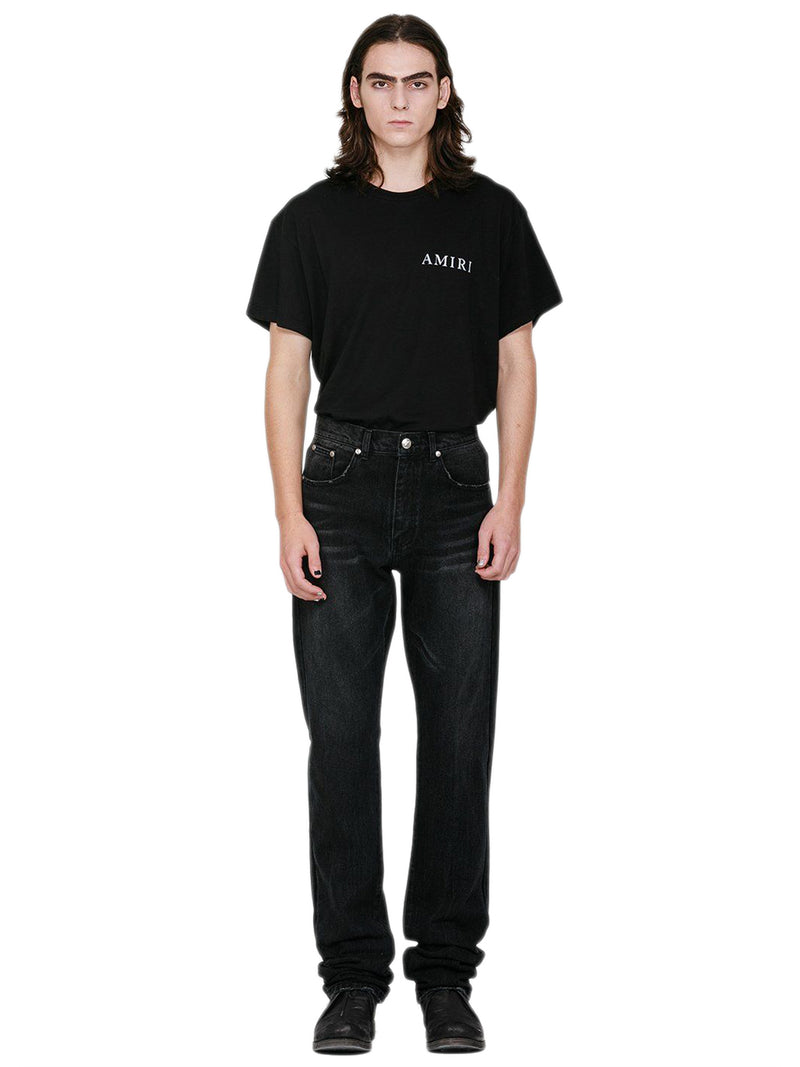 Black Slit Denim Pants