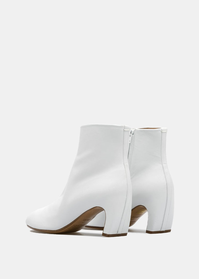 White Tabi Leather Ankle Boots