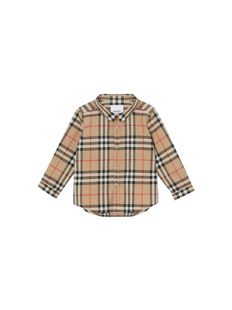 Archive Beige Iconic Check Print Button Down Shirt