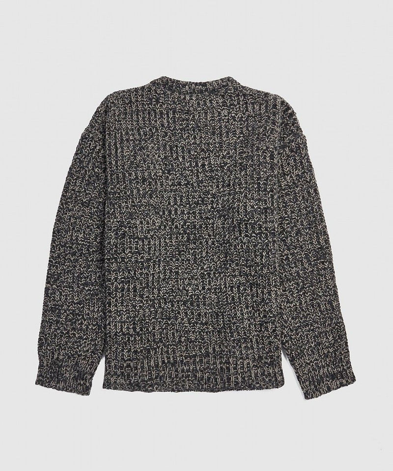 Grey Roundneck Ribbed Patch Knit Sweater