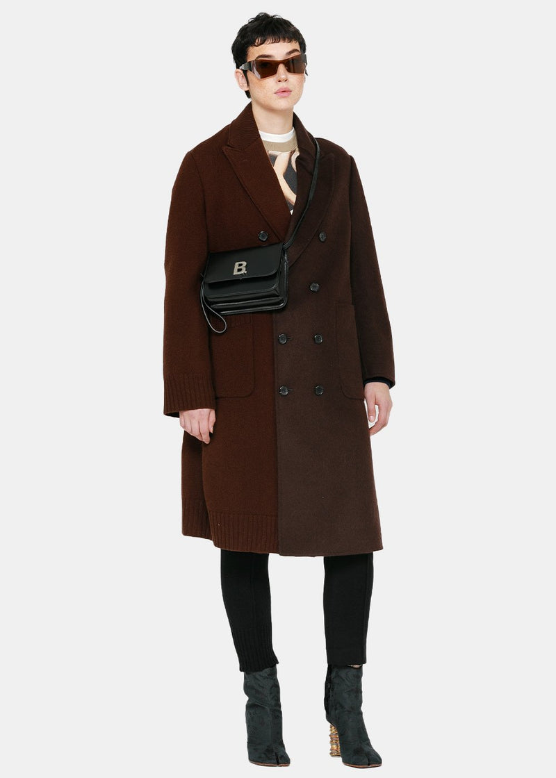 Brown Paneled Long Coat
