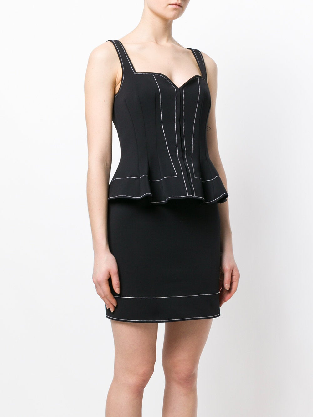 Black Peplum Waist Fitted Dress