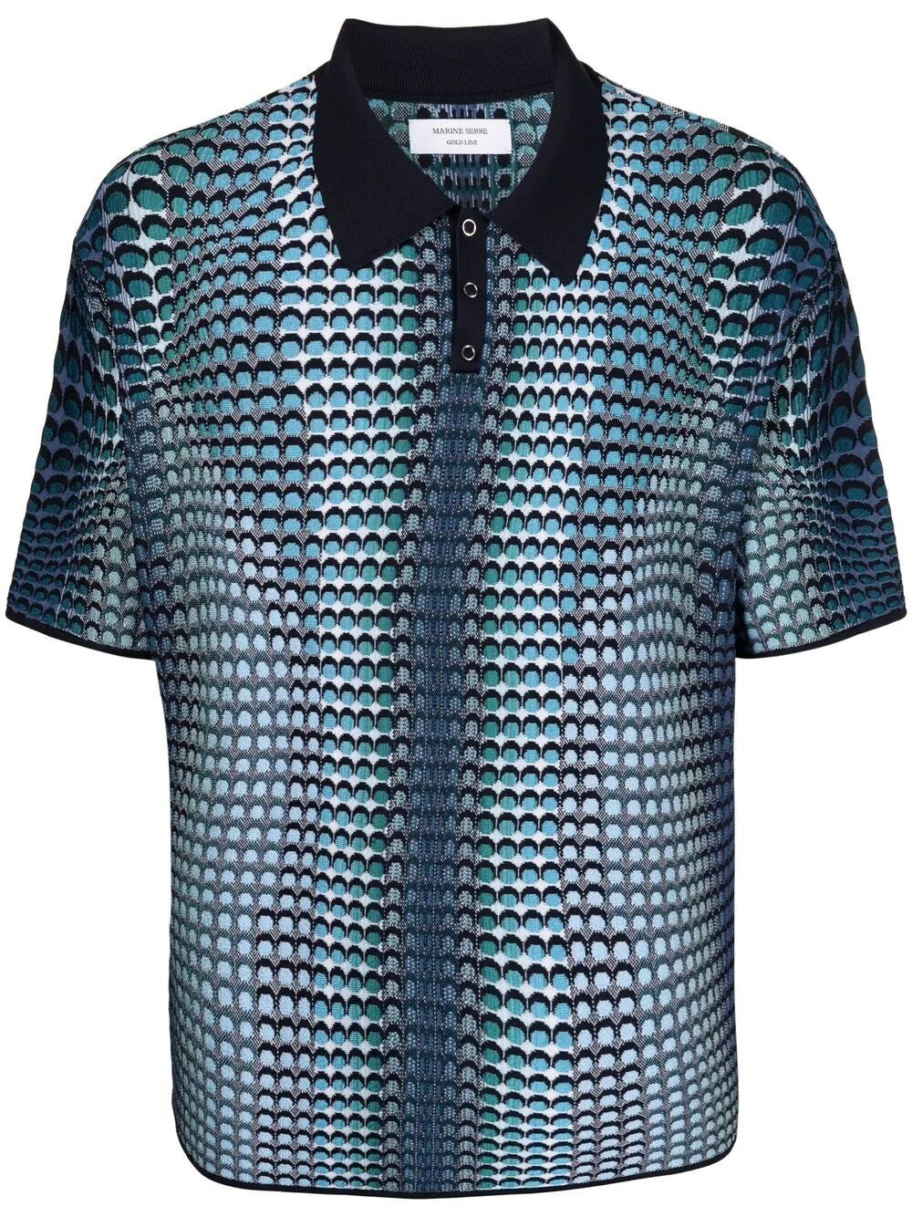 Sea Blue Moonfish Skin Jacquard Knit Polo Shirt