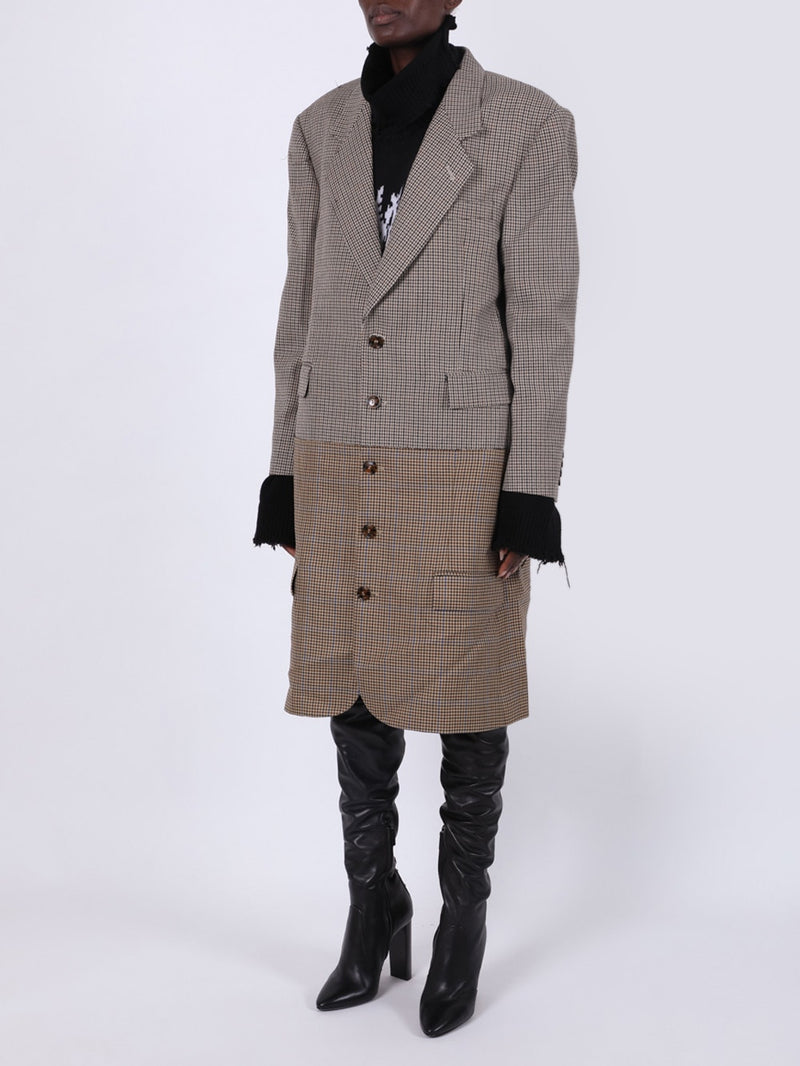 Brown & Blue Check Print Double Jacket Cut Up Coat