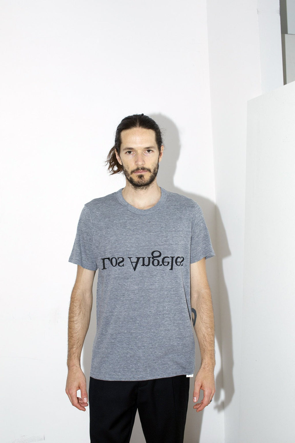 Grey Cotton Los Angeles Logo T-Shirt